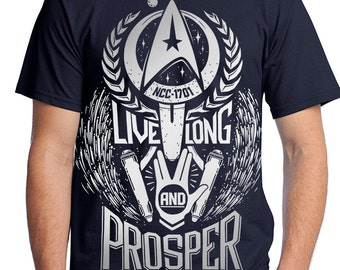Star Trek T-Shirt // Live Long and Prosper Spock shirt in Navy Blue with silver ink // Hand Screen Printed // Available In Plus Sizes