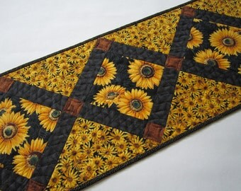 Handmade Quilted Table Runner with Sunflowers, Gold, Black and Brown Tablerunner, Home Decor, Fall Flowers