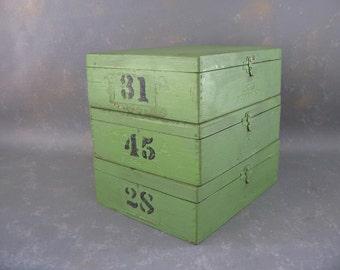 Vintage Wood Boxes, Three, Cigar, Painted, Numbered, storage