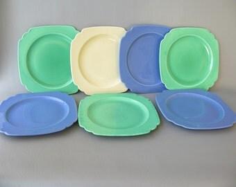 Vintage Riviera Plates, green, cream, blue