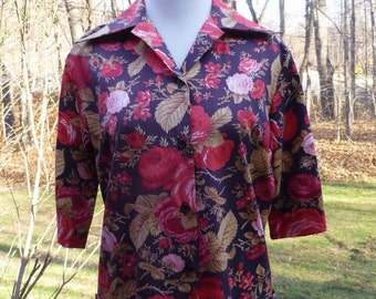 Hip Length Dark Brown Vintage Smock Blouse Or Shirt With Red Roses By Laura Mae