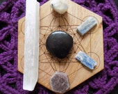 Six Piece Crystal Bundle Selenite Shungite Raw Ruby Rainbow Moonstone Blue Kyanite Stones Crystals Tumbled Rough Grid