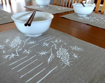 Linen Placemats Screen Printed Linen Place Mats Hand Printed Linen Table Mats White & Natural Grevillea (set of 4)