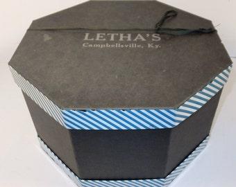 Vintage 60's Letha's hat box Octagon Black with White & Blue stripe trim accents Campbellsville KY, Large retro hat box