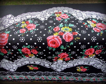 Curtain Panel Fabric, Curtain Fabric, 1 Yard 33 Inches, Black Print Fabric, Cotton Panel Fabric, Curtain Material, Floral Cotton, Lace Fabri