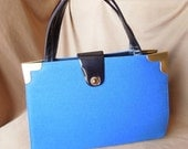 FAB Vintage 60's Bright Blue Handbag, Structured, Top Handle, LARGE, 50's Rockabilly, Mad Men