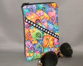 Eyeglass or Sunglasses Case - Zipper Top - Padded Zippered Pouch - Cats - Laurel Burch
