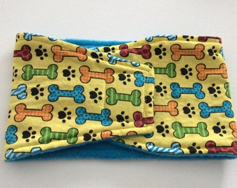 Diaper for Dogs - Male Dog Belly Band - Belly Wrap - Yellow with Bones and Paws - Available in all sizes