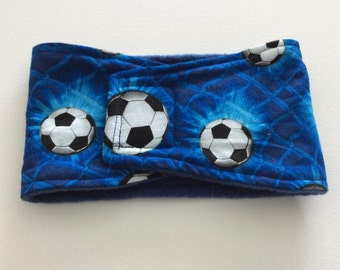 Dog Diaper - Male Dog - Belly Band - Belly Wrap - Blue Soccer Balls - Available in all Sizes