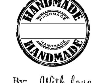 Clear stamp set - Handmade, By, With love - for packaging, scrapbooking, handmade gifts