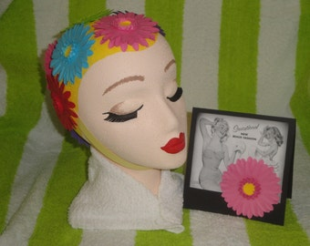 BATHING BEAUTY Decorated Head Art - Vintage Swimming Theme - Paper Flowers Pool Side Cabana Swimwear Glamour Girl