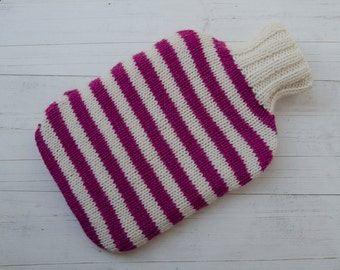 Knitted Hot water bottle in pink and cream stripes pure wool