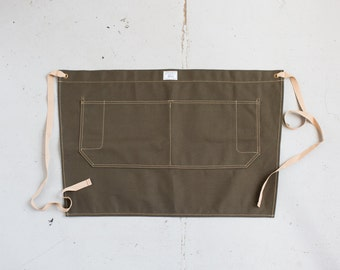 Waist Apron in Olive Duck Canvas