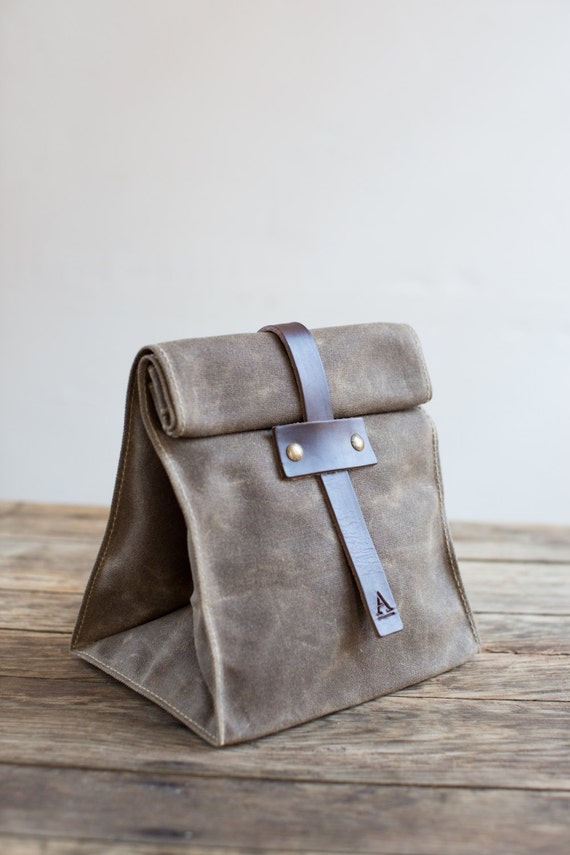 No. 215T Lunch Tote in Dark Khaki Waxed Canvas & Brown Leather