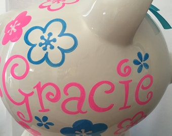 Personalized Large Hot Pink/ Turquoise flowers Piggy  Bank Newborns , Birthday,Girls,Flower Girl,Baby Shower Gift Centerpiece