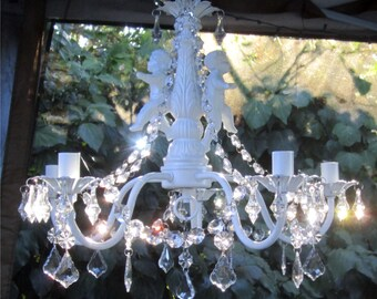 WHITE CHERUB CHANDELIER Candle Holder -Oak,  5 Arm  Satin White with Acrylic Crystals/Indoors or Outdoors