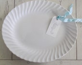 Vintage White Platter Sheffield Bone White Plate Farmhouse Decor Home & Living Dining Serving Gallery Wall