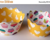 CLOSEOUT SALE Cupcake Party Heart Cupcake wrappers SET of 12