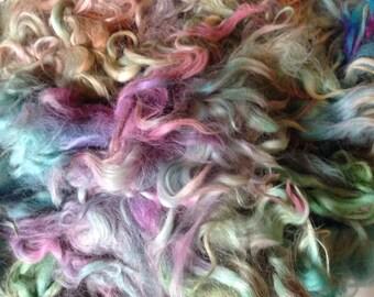 Build a Batt Suri Alpaca fiber art add in multi color kettle dyed 8 ounces
