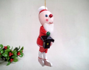 Vintage Santa Claus Ornament with Lantern and White Fur Beard, Hand Painted Wood Figurine Ornament, Vintage Christmas  Decoration