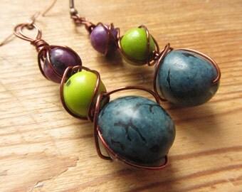 Tagua Nut Earrings, Dried Pea Earrings, Boho Hippie Wire Wrapped Earrings, Colorful Seed Earrings, Recycled Earrings, Upcycled Jewelry