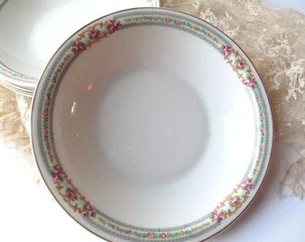 Vintage Soup Bowls Rose Paul Muller Bavarian Pink Blue Set of Four - Weddings Bridal Decor