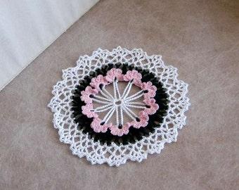 African Violets Crochet Lace Doily, Pink Flowers, Fairy Garden Decor, Cottage Chic Floral Table Decoration