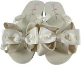 Groom's Mom Flip Flops/ Champagne/ Mother of the, Bride's Mom  Flip Flop Sandals Shoes for the Wedding- Bridesmaid, Flower Girl
