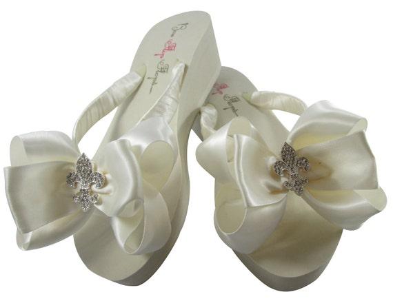Bridal Flip Flops Fleur de Lis Rhinestone Satin Ivory Bows