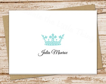 crown note cards, notecards set . personalized stationery, stationary . royalty, royal crown . set of 8