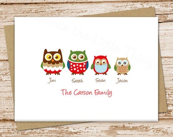 OWL FAMILY personalized stationery . owls stationary . folded note cards . family notecards . set of 8
