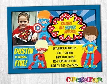 Superhero Invitation, Superhero Birthday Invitation
