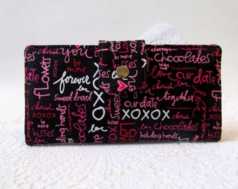 CLEARANCE - Handmade women wallet - Love love wallet -words in pink and red - ID clear pocket - ready to ship - gift for her