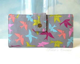 Handmade womens wallet  - birds everywhere with colors - vegan wallet clutch - Custom order - gift for her