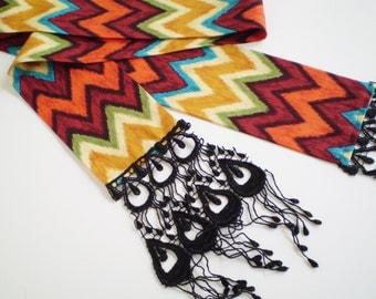 Boho Chevron Head Scarf, Tribal Head Scarf, Boho Tribal Scarf, Bohemian Chevron Head Scarf, Colorful Tribal Chevron Head Scarf