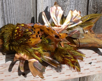 Antler Art Rustic - Moose shed in rust patina with copper leaves and Pheasant feathers