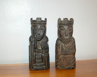 Vintage Hand Carved Spanish Revival Royal King and Queen Statues~ Royal Couple ~ 1970's Decor ~ King & Queen Bookends ~ Romanesque Style