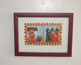 "R. Keaney Rathbun signed, framed Exuberant Silkscreen / Screenprint Artist Proof   ""Adjoining Lives"" ~ NW Artist ~ Excellent Condition"