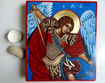 Saint Archangel Michael icon,  handpainted orthodox icon original 10 by 8inches, Warrior Angel