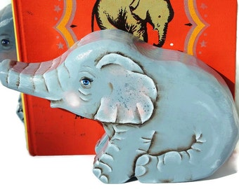 Baby Elephant Bookends Hand Painted Non Toxic Nursery Decor