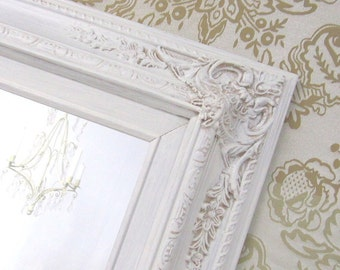 """IVORY FRAMED MIRROR Vanity Mirrors For Sale French Country Home Decor 31""""x27"""" Baroque Ivory Mirror Antique White Cream Colored Vanity Mirror"""