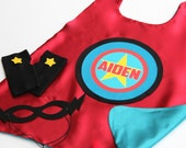 Halloween Costume Kids PERSONALIZED SUPERHERO Cape with full name - Add 2 matching accessories - Kid gift - As seen on Cool Mom Picks