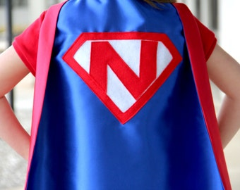 Boys Personalized Shield Cape - Super hero party - CUSTOMIZED SUPERHERO Cape with INITIAL - Kids Personalized Gift