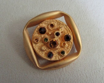 Square brooch  with assorted Swarovski crystals