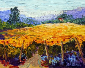 Sunflower Fields Provence, Original Oil painting, Impressionist Provence Landscape, Provence Summer Palette Knife painting  ca. 7x10""