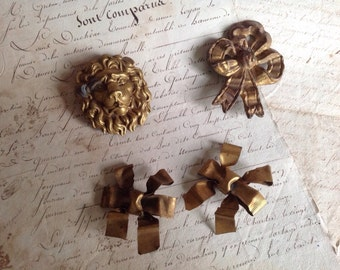 Antique Fittings, French Ormolu, Rococo French Chateau Decor, 4pc Bows & Lion head/ Decorative Antiques. Baroque Interiors French Antiques