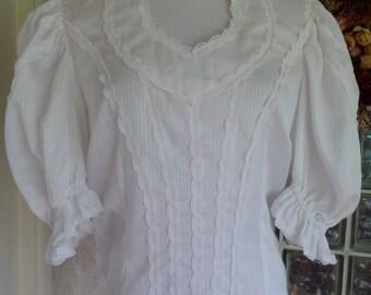 Vintage 60s 1960s 70s 1970s Blouse White Woven Stripe Queen Ann Fashions by Bettye Zipper Back M Medium