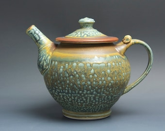 Handmade teapot stoneware tea pot verigated green and iron red 40 oz 3485