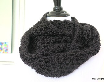 Cozy black cowl, chunky homespun infinity scarf, gift under 40