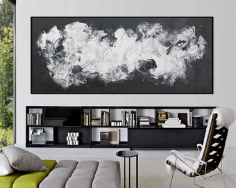 72x30 black white abstract painting horizontal large painting black floationg frame minimalist -overcoming resistance- art painting Elena